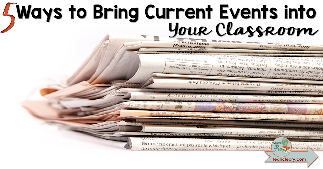 Current events have an important place in social studies instruction because they're great for comparing to historical events. This blog post shares five ways to bring current events into your classroom - and they're easy! Click through to read more.