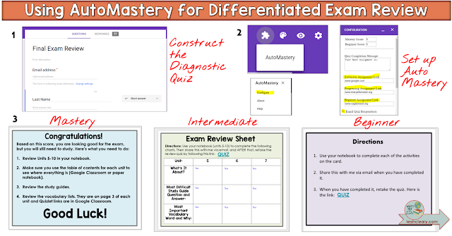 Make differentiating your lessons a breeze with the help of AutoMastery! AutoMastery is a free add-on for use with Google Forms, and it helps teachers differentiate instruction in a snap. Learn more about how this add-on works and how you can use it to make leveled assignments in your secondary classroom in this blog post!