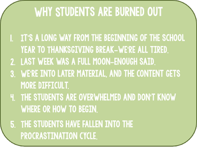 Student burnout is as real an issue as teacher burnout is. What can we do to help our students feel less overwhelmed and to make their school work seem more manageable? I describe the system I tried in my class and why I think it's an important structure for students to have.