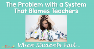 The disheartening trend of blaming teachers when students fail is becoming stronger. I feel that we aren't setting our students up for success by allowing this to happen. We need to work on increasing our students' senses of self-worth rather than self-esteem, and we need them to understand that it's okay to make mistakes, because they always have the chance to make it right.